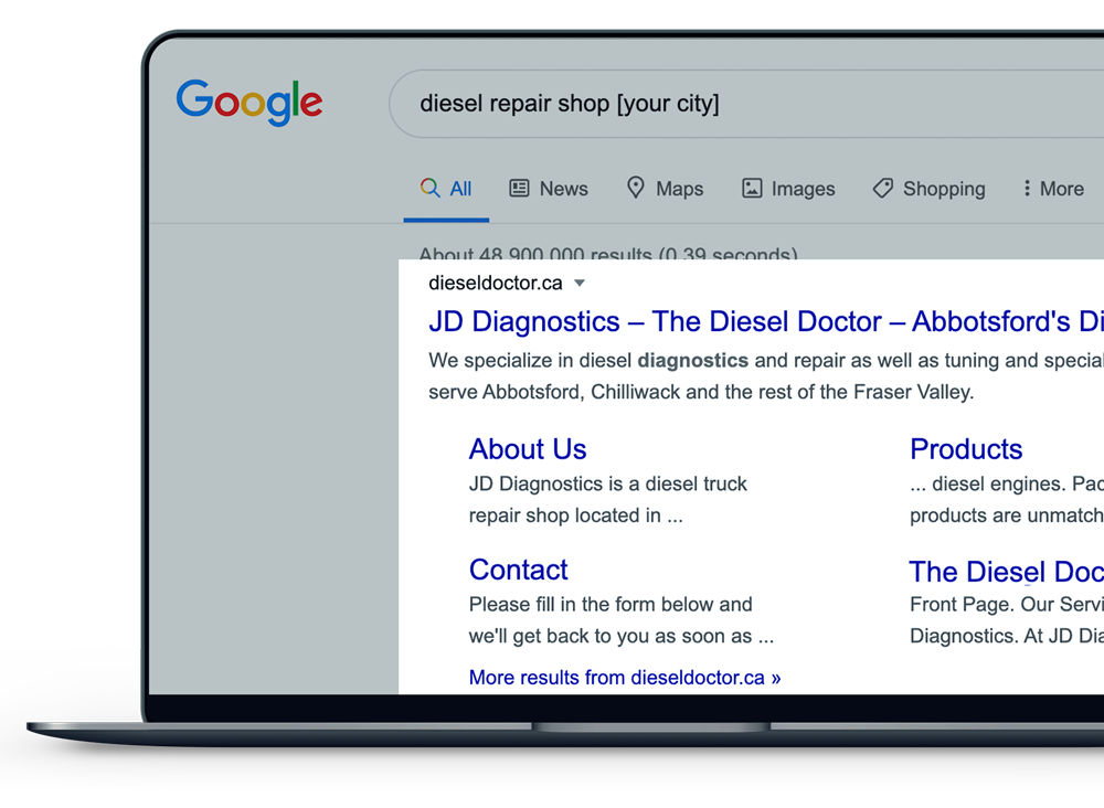 """Organic Google search for """"diesel repair shop [city name]"""" with a DIeselmatic marketing partner in the #1 organic search result spot."""