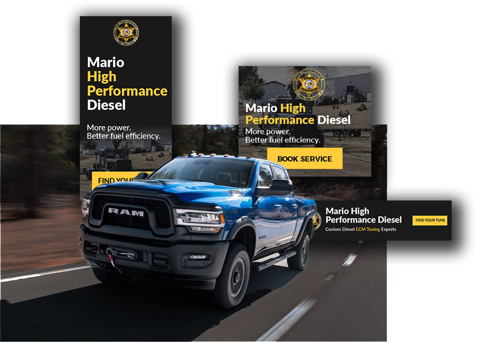 Retargeting display ads for MHPD.CA (popping out from behind 2020 Dodge Ram 2500)