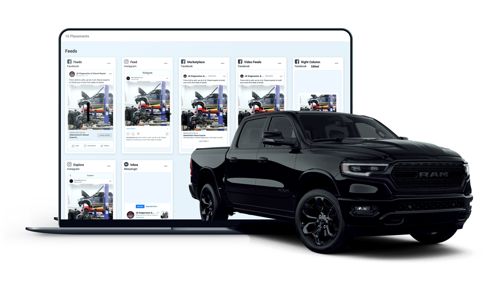Dieselmatic Paid Social layout (Dodge Ram truck in front of laptop)