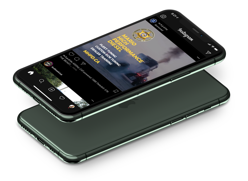 Responsive diesel repair shop website on iPhone