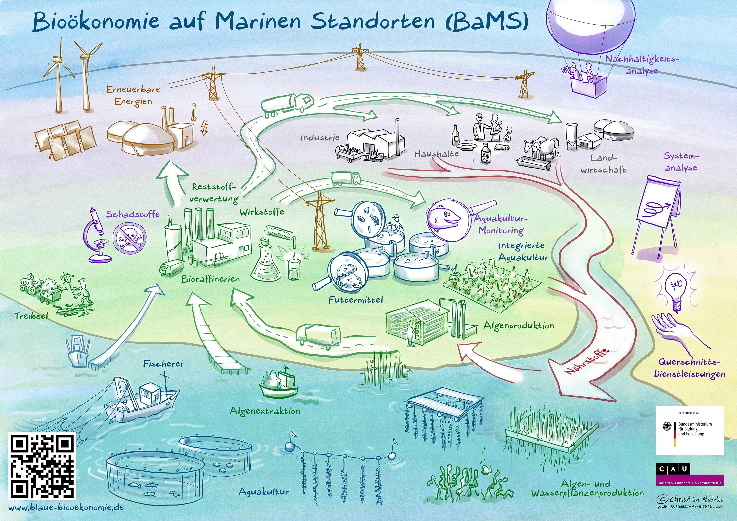 "The innovation area ""Bioeconomy at Marine Sites (BaMS)"" puts aquacultures with aquatic organisms from fresh and salt water at the centre of a comprehensive circular economy © Christian Ridder"