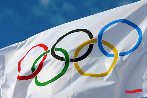 White flag with Olympic logo