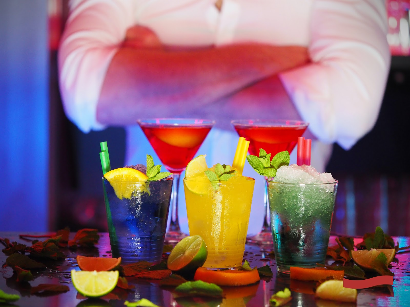 Photo of alcoholic drinks on a bar