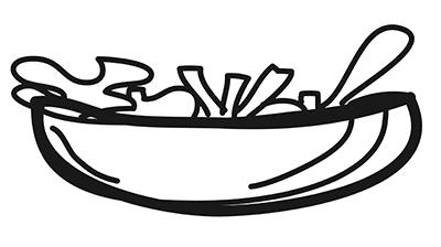 Dibujo a líneas de un bowl saludable