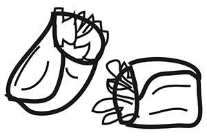 Dibujo lineal de doos burritos en color negro