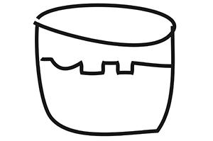 Dibujoo lineal de un vaso de jugo en color negro