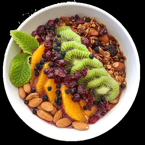 Smoothie bowl con frutas y granola