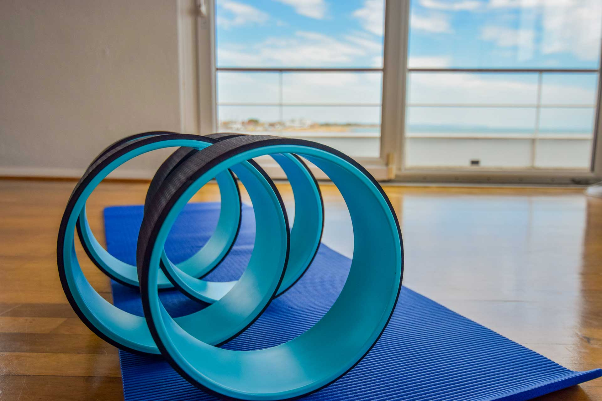 photo of blue exercise rings in studio