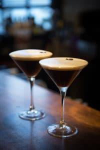 Two espresso martini cocktails at Sub 13