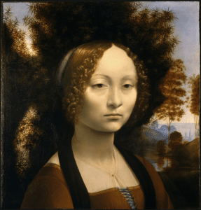 Painting by Leonardo da Vinci of Ginevra de' Benci with a juniper bush