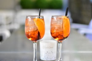 You can sample the Aperol Spritz 2-for-1 all evening - and its perfect on our sunny terrace.