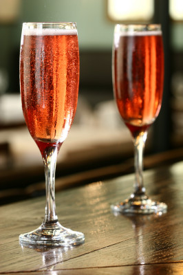 A pair of Kir Royale cocktails