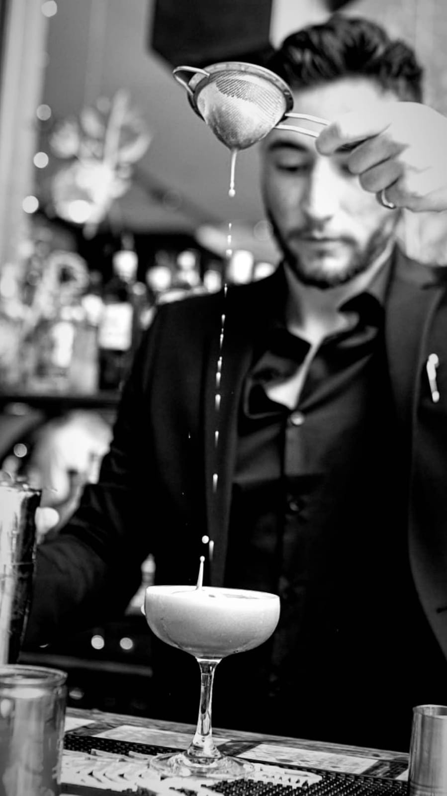 Assistant Manager Leo making a Valentine's Day Cocktail