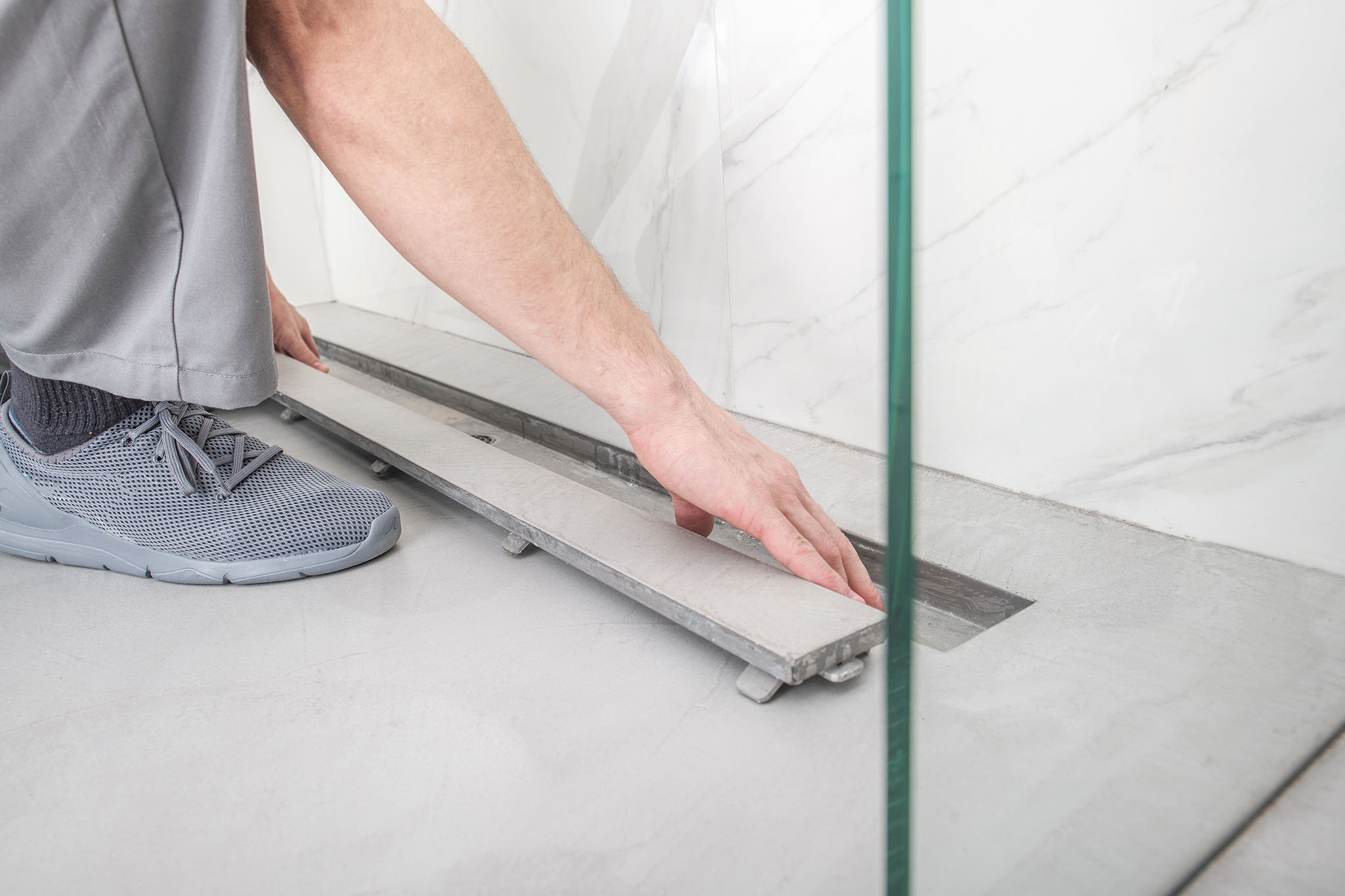 Showers with Concrete Floor Cutting