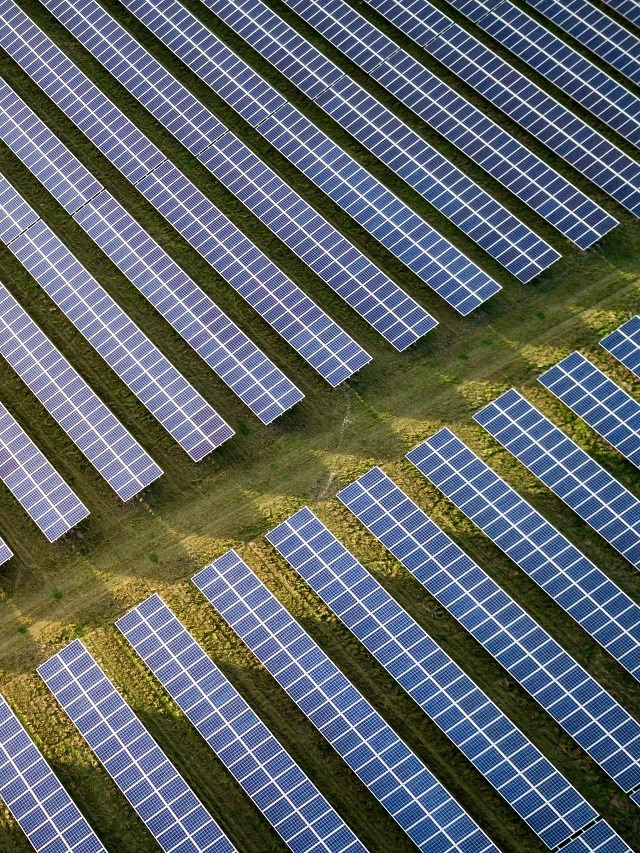 An aerial view of solar panels