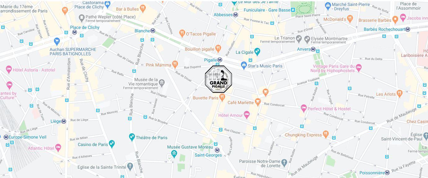 hôtel grand pigalle paris carte zone 2