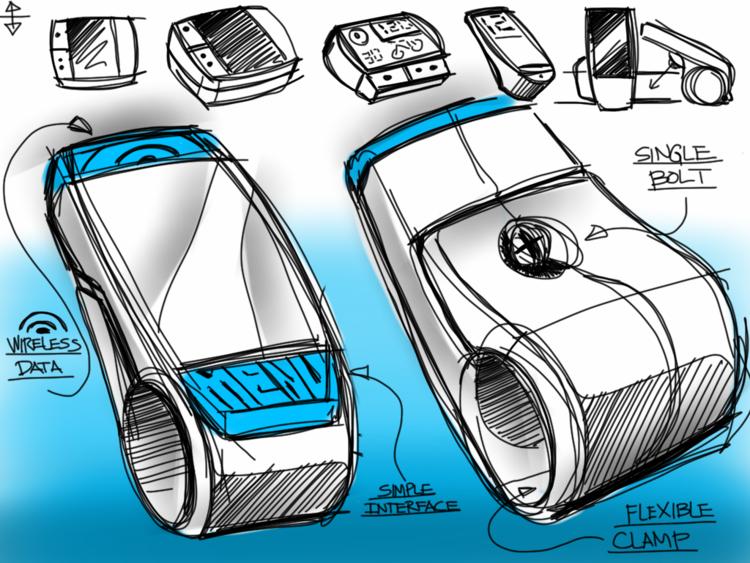 Industrial design sketch: bike clamp wireless device