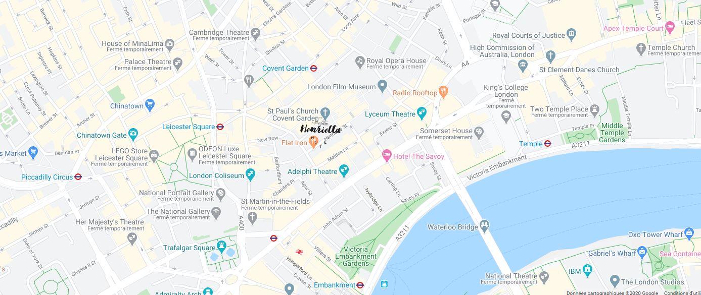 carte de l'hôtel henrietta london