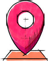 Logisitics icon. Sketch-style map pin in warm colors.