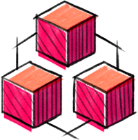 Distributed ledger icon. Sketch-style connected cubes in warm colors.