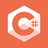 C Sharp logo in white on orange circle.