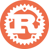 Rust icon in white on orange background.