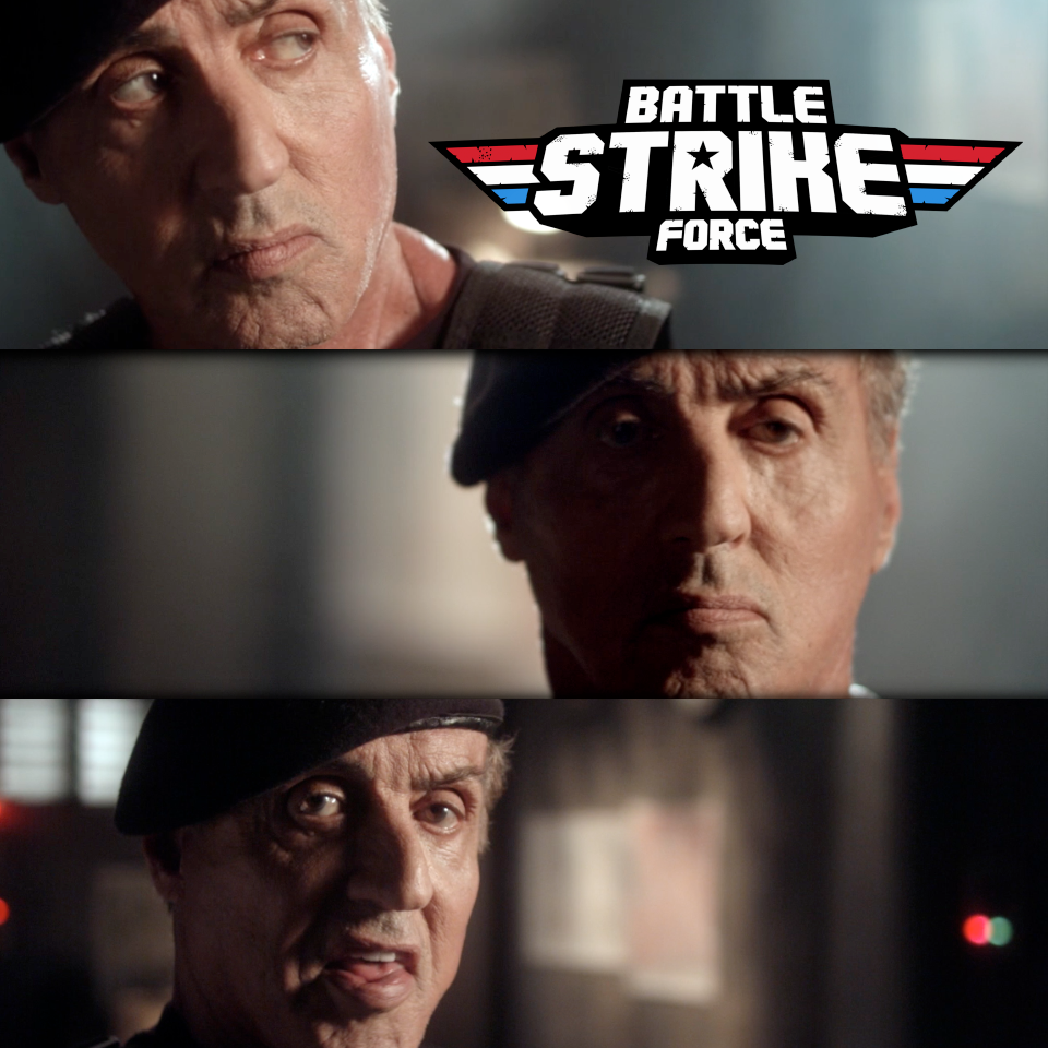 Battle Strike Force Logo over a tryptic featuring Sylvester Stallone from in-game cinematics.