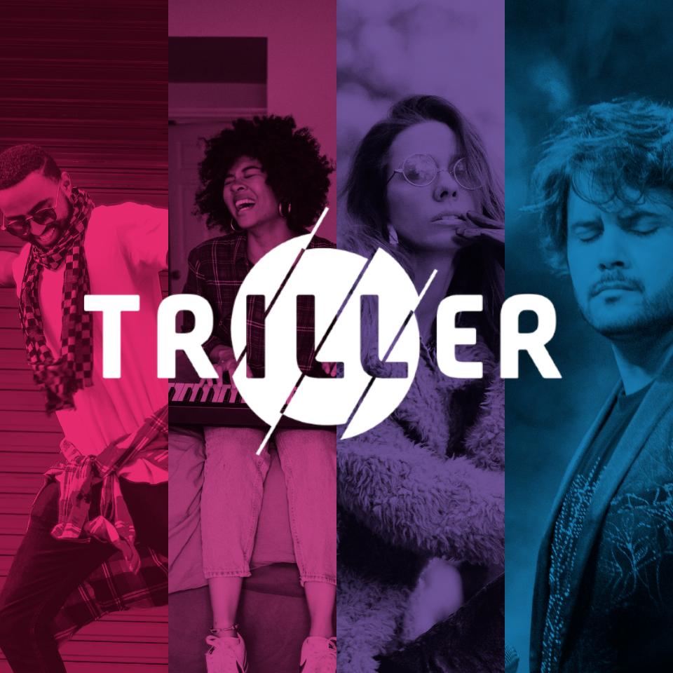 White triller logo over a four-color composite image of content creators. Square version.