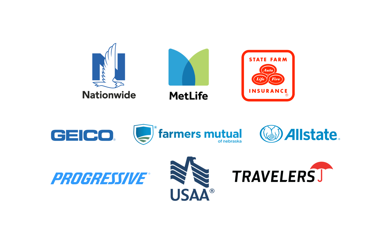 An image of all of the insurance companies Gateway Auto works with