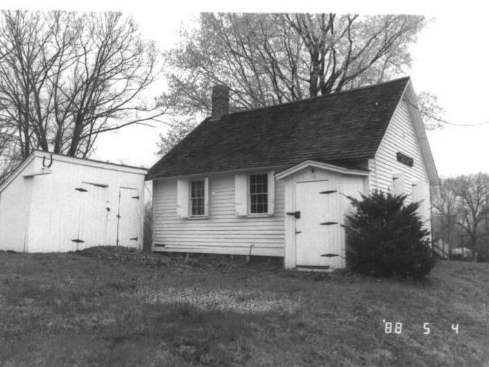 old-school schoolhouse in black and white