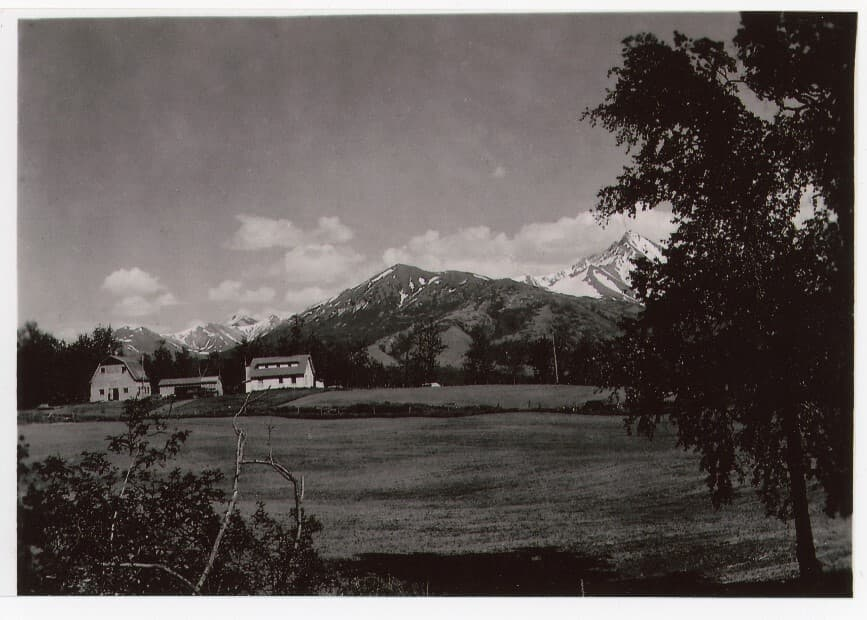 Image is of a farmstead showing a colony barn, house and garage, viewed looking east across a field with trees in foreground and mountains in back ground. Lazy Mountain and Byer's Peak are prominent.