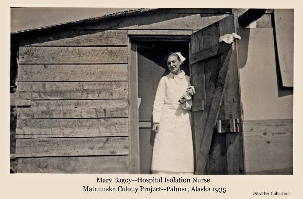Image is of a woman in nurses' attire, identified as Mary Bagoy, the Palmer hospital isolation nurse. She is standing in the doorway of what is likely the hospital isolation facility.