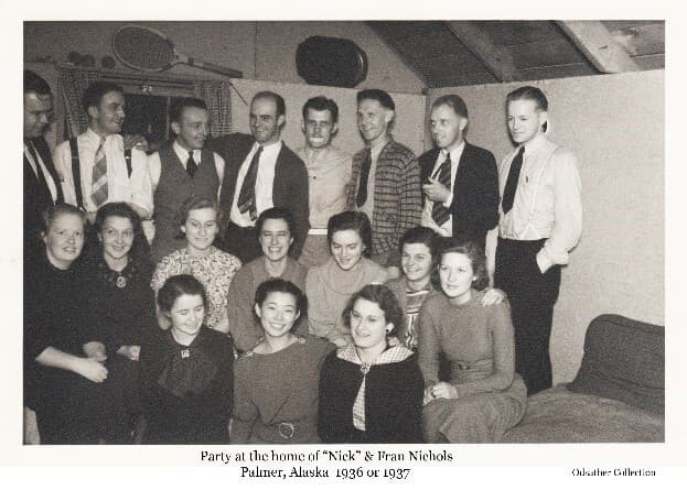 Image shows a group of young men and women associated with supporting the Matanuska Colony Project. Most were employees of the Alaska Rural Rehabilitation Corporation (ARRC) which managed the project.  The occasion was a party at the Nichols' house.