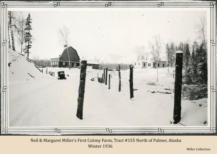 Image is a winter scene of Neil & Margaret Miller's first Colony farm on tract #155 along the Fishhook Road north of Palmer, Alaska.  A typical Colony barn is apparent, a very atypical colonist house is visible, and an automobile is evident in the driveway.