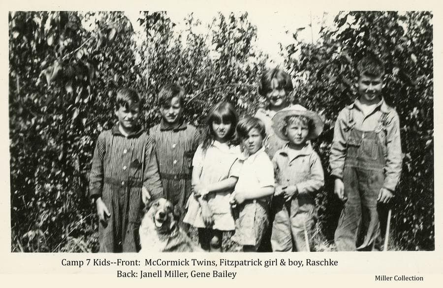 Image shows seven young children and a dog.  Children identified as (l to r): Front-McCormick twins, Fitzpatrick girl & boy, Raschke child.  Back-Janell Miller, Gene Bailey.
