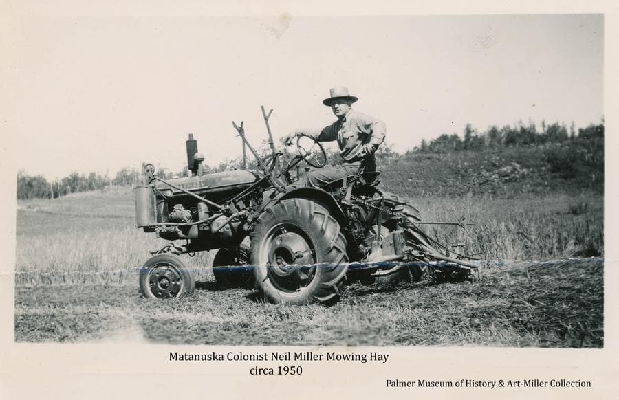 Image shows Colonist Neil Miller mowing hay with a Farmall tractor.  A cleared hillside and fringe of trees form the background.