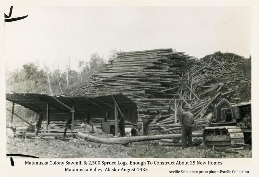 This is a slightly modified press photo.  Image shows a cat tractor and men in foreground with some sort of sled structure behind the tractor.  Other men are working at a sawmill under a shelter roof in near middle ground.  A large pile of spruce logs is behind the mill and birch trees are on the hill beyond.  Information with the photo indicates there are approximately 2,500 logs in the pile, enough to build 25 new Colony homes.