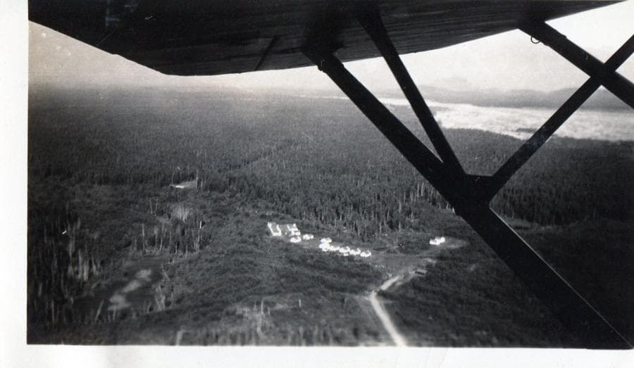 Image is an aerial view of Colony tents forming Camp 8 located within a large expanse of heavy forest with the Matanuska River visible in background.  Portions of the airplane's wing and struts are obvious in foreground.