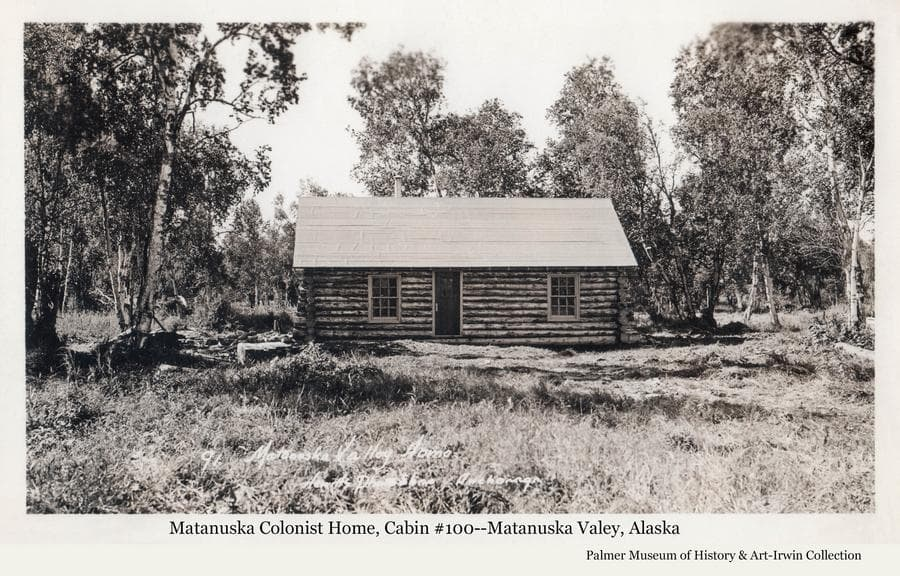 Image is of a log house, identified as cabin #100.  Exterior construction appears to be complete with a small pile of lumber in a mostly clear yard.  Scattered birch trees surround the house.