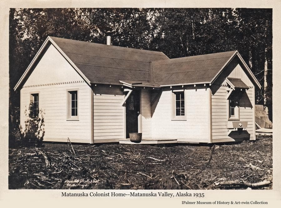 """Image is of a completed Colony """"Cottage with heavy birch forest as the backdrio."""
