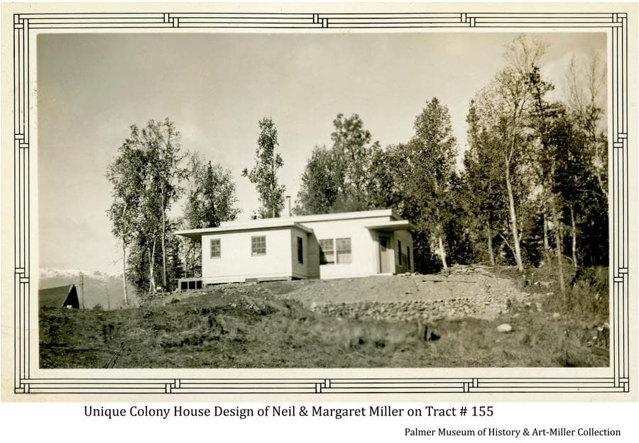 Image shows a house of arguably the most unique design build by, or for, any of the Matanuska Colonists.  Constructed by Colonists Neil and Margaret Miller on their tract #155 along the Fishhook Road north of Palmer, it varied radically from any of the five house patterns offered by the government from which the Colonists were to choose.