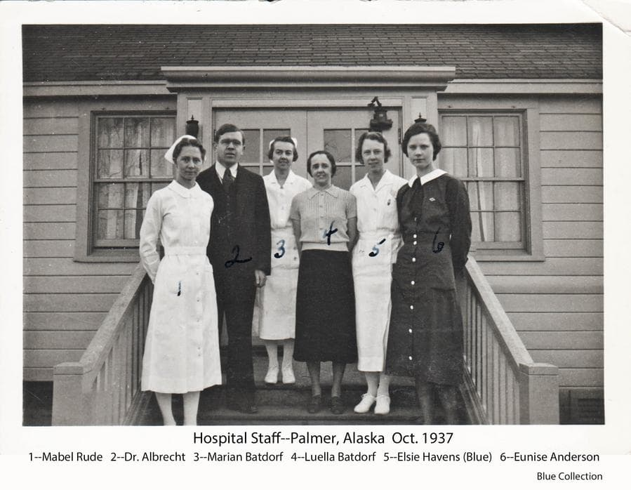 Image is of the Palmer hospital staff on October 1937, posing on the hospital entry steps.  Staff is identified as (l to r): Mabel Rude, anesthetist & lab tech;  Dr. C. Earl Albrecht;  Marian Batdorf, nursing supervisor;  Luella Batdorf, hospital secretary; Elsie Havens, OR nurse & Dr. assistant;  Eunice Anderson, public health nurse.