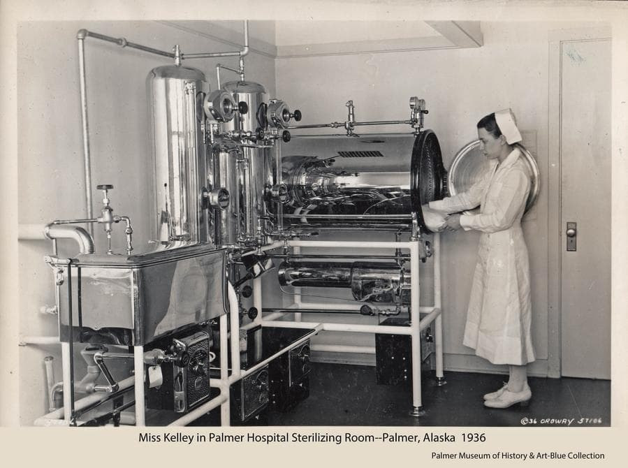 Image is of Nurse Kelley in the sterilizing room of the Palmer hospital.