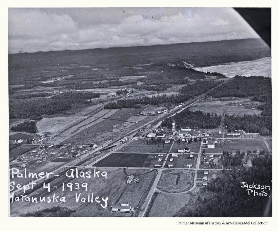 Image is an aerial oblique view looking northerly across Palmer showing buildings, roads and surrounding farm land, forest and Matanuska River.