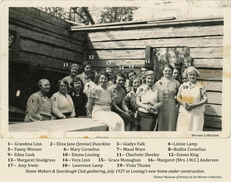 Image is of a group of women belonging to Valley Home Makers and Sourdough Clubs gathered at one of the women's log home under construction.  All are identified and referenced to numbers on the photo.  One young boy is also present and identified.