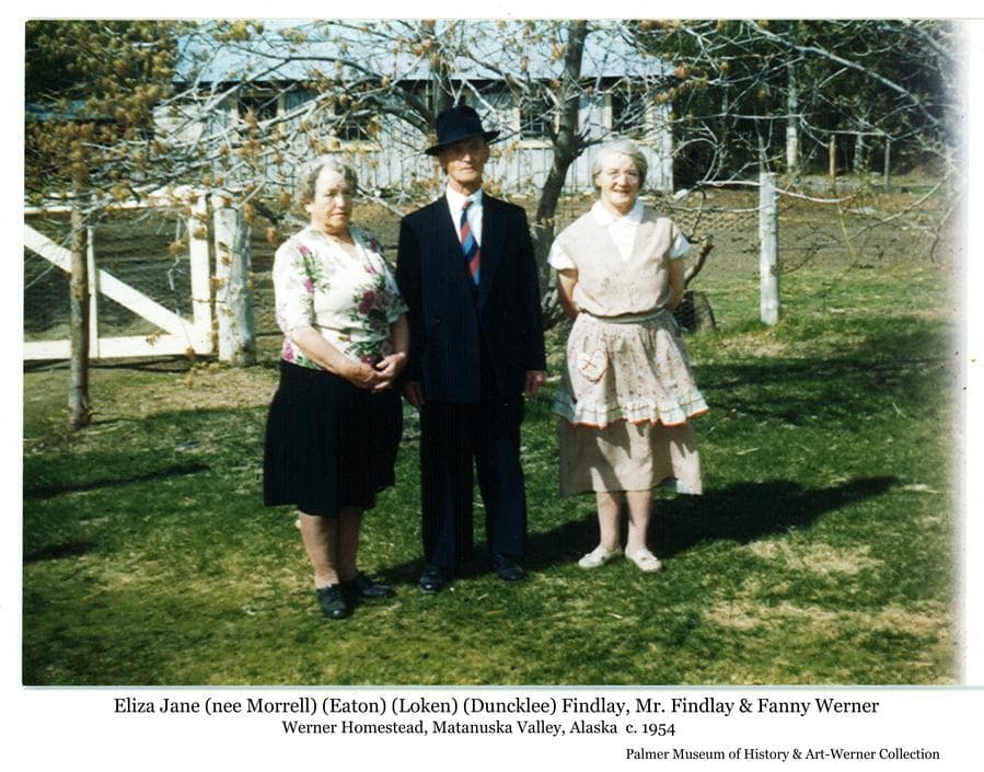 "Image is of Fanny Werner on the right with her Mother, Eliza Jane (""Jenny""), and her Mother's latest husband, Mr. Findlay.  Following the death of Ed Duncklee, Jenny returned to England in 1954 where she married Mr. Findlay, then returned to visit Fanny on the Werner Homestead where this photo was taken."
