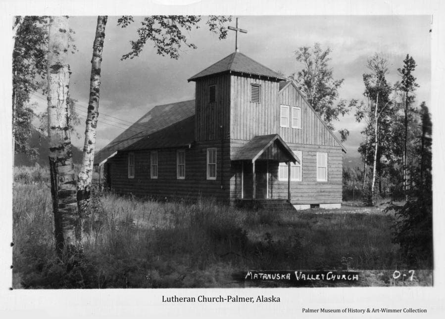 Summer view of north and west side of the Lutheran Church in Palmer, Alaska.
