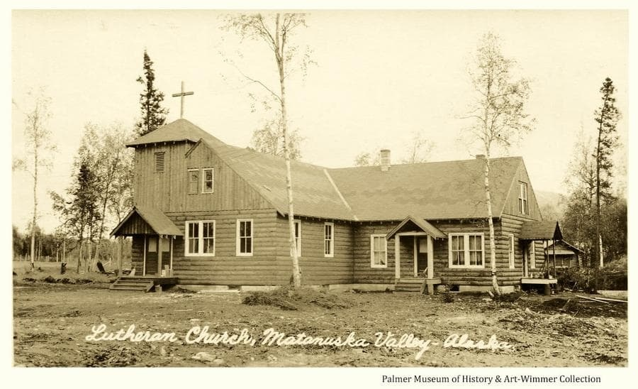 Summer view of west and south sides of the Lutheran Church in Palmer, Alaska. Construction appears to be complete but grounds are not yet fully cleaned up.