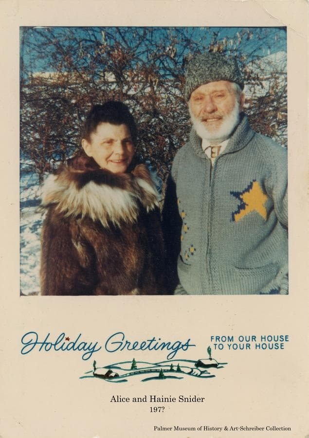 "Image is of Alice and Gerrit ""Heinie"" Snider dressed in winter garb posing for a Holiday Greeting card."