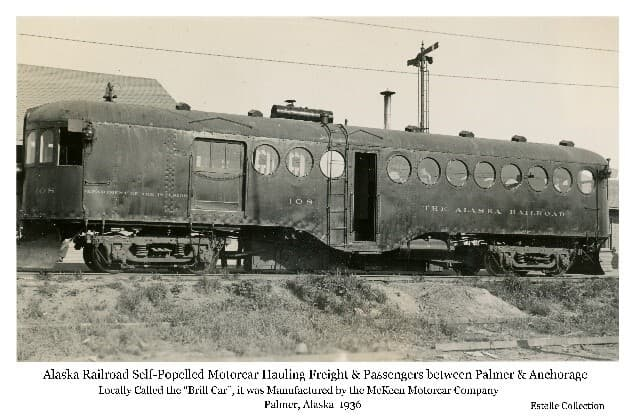 """Image shows the McKeen Motorized Rail Car, locally called the """"Brill car"""" or """"Brill Train"""", on the Palmer siding. This car ran daily between Palmer and Anchorage for several years, hauling passengers and freight."""
